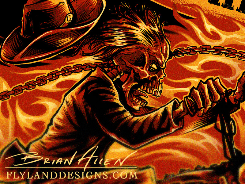 T-Shirt illustration of a skeleton on fire riding a chopper motorcycle