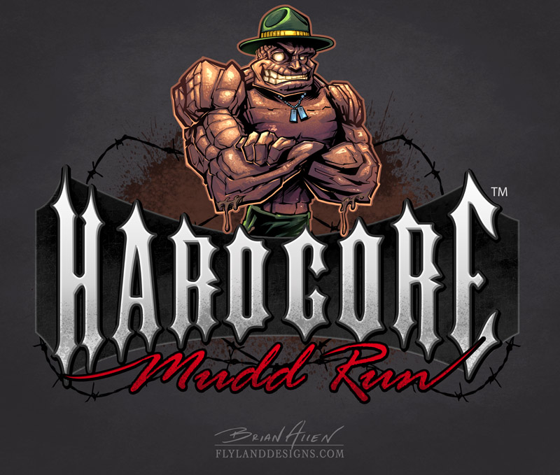 Mascot design of a rock drill instructor for a mud run obstacle course