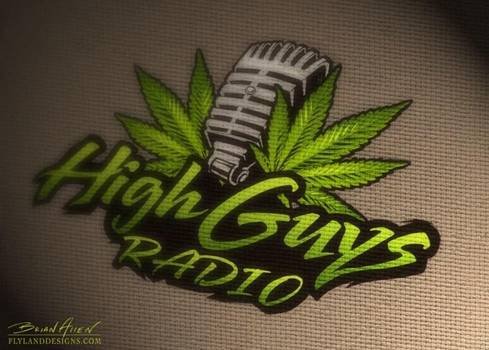 Logo design wih a pot leaf and microphone