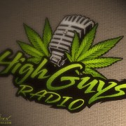 Logo design wih a pot leaf and microphone
