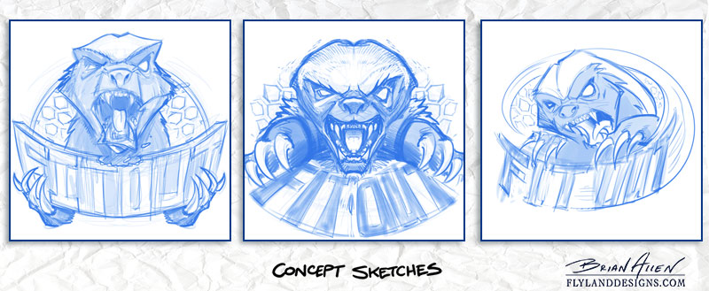 Mascot Character Design of a honey badger