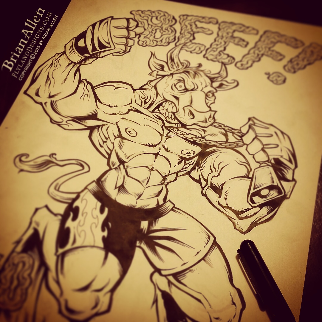 T-Shirt illustration of a mad cow MMA fighter in fight shorts, and a hip-hop singer gripping a mic spewing bad breath fumes