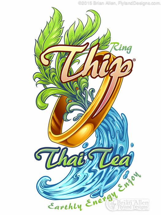 Bottle label design for tea featuring illustration.