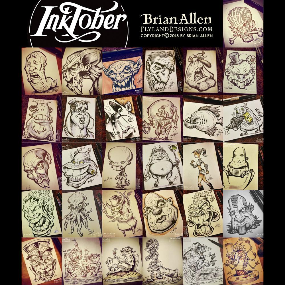 Inktober 2015 ink drawings on paper