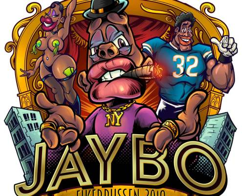 Jaybo character stands in front
