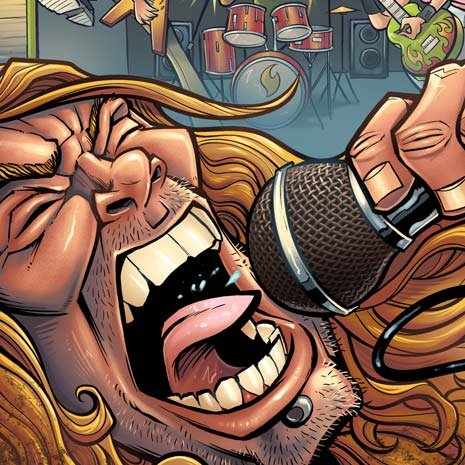 Book cover illustration of a Garage Band