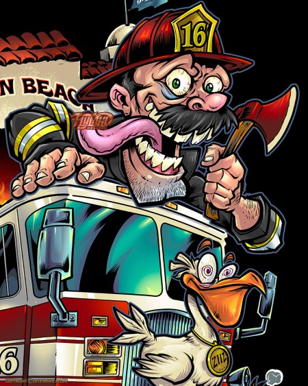 Firefighter mascot t-shirt desig