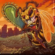 Humorous and dark Illustration of a killer bee with a chainsaw