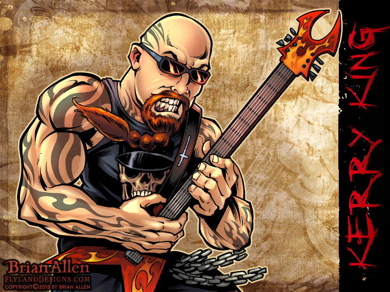 Caricature illustration of Heavy Metal Icon Kerry King