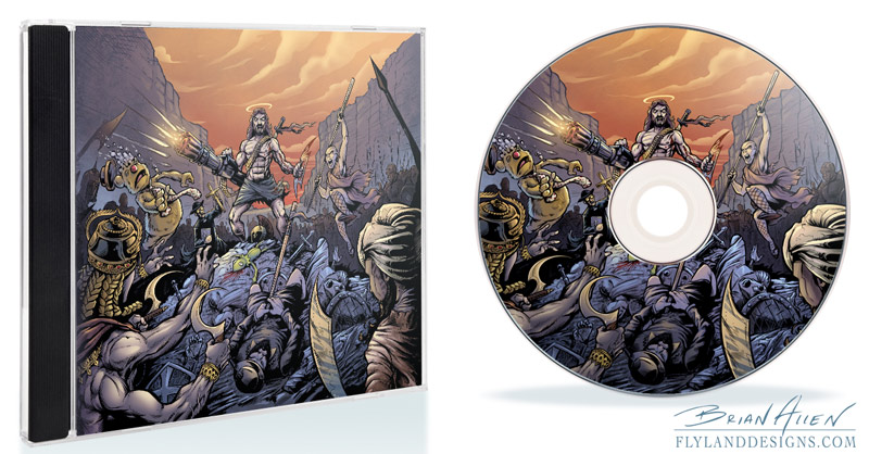 Album cover illustration of a holy war CD view