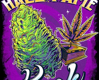 T-Shirt illustration of a Kush marijuana bud and trophy