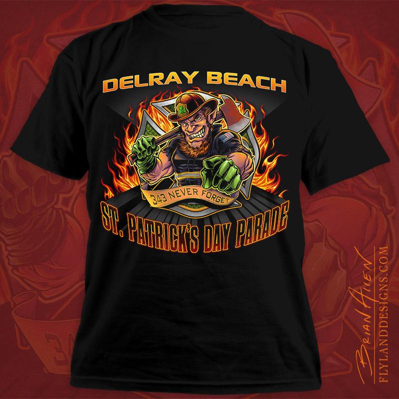 Leprechaun fire fighter t shirt design flyland designs for Custom fire t shirts