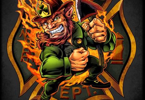 Firefighter leprechaun with axe on a maltese cross