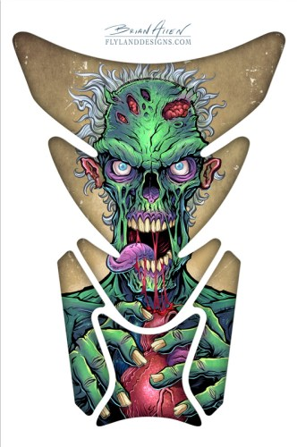 Illustration of a zombie eating a heart for a dirtbike decal