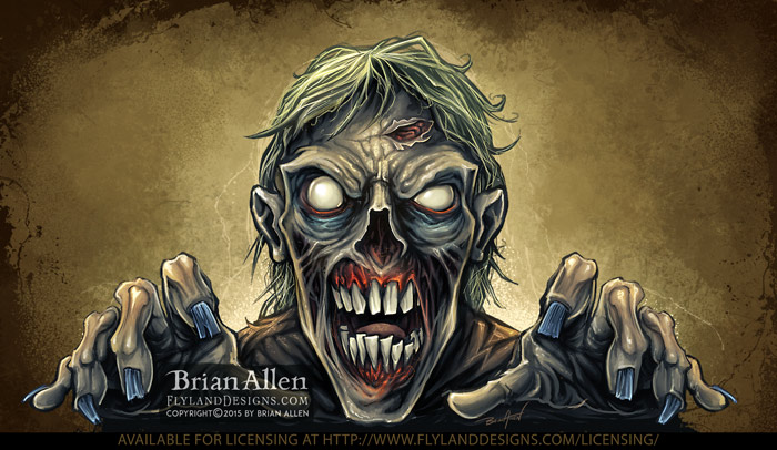 Detailed scary zombie reaching o