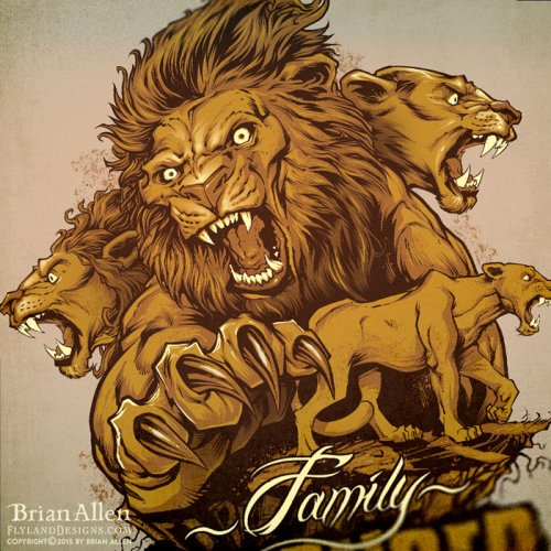 Pride of lions illustration silk-screen