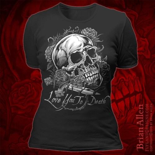 t-shirt design of a skull and da