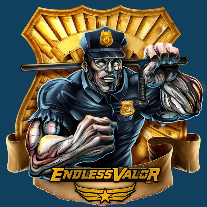 A metal skinned police officer o