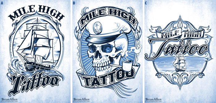 Tattoo shop custom logos of sail