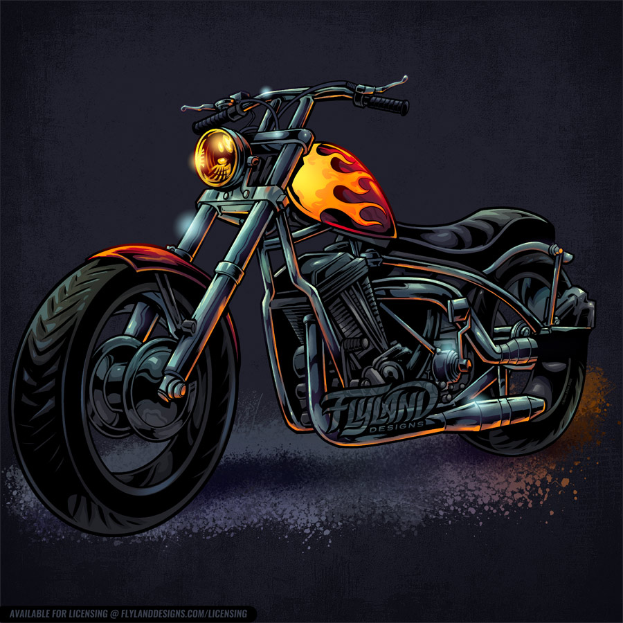 Motorcycle with hotrod flames pa