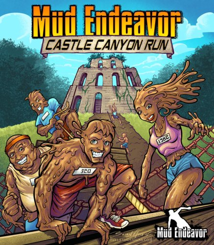 Illustration of mud people in a race for a poster