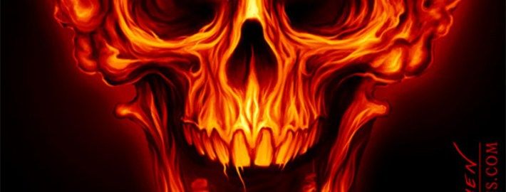 Mushroom cloud skull in fire for a logo design