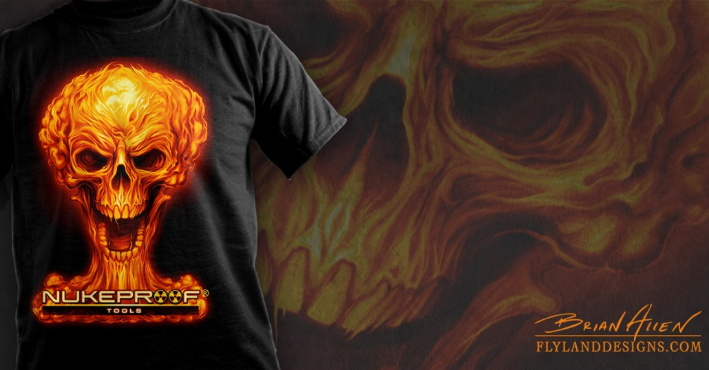 Mushroom cloud skull in fire for a logo design