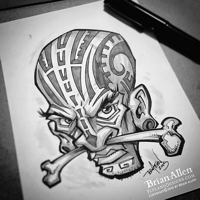 InkTober Tribal dude ink drawing