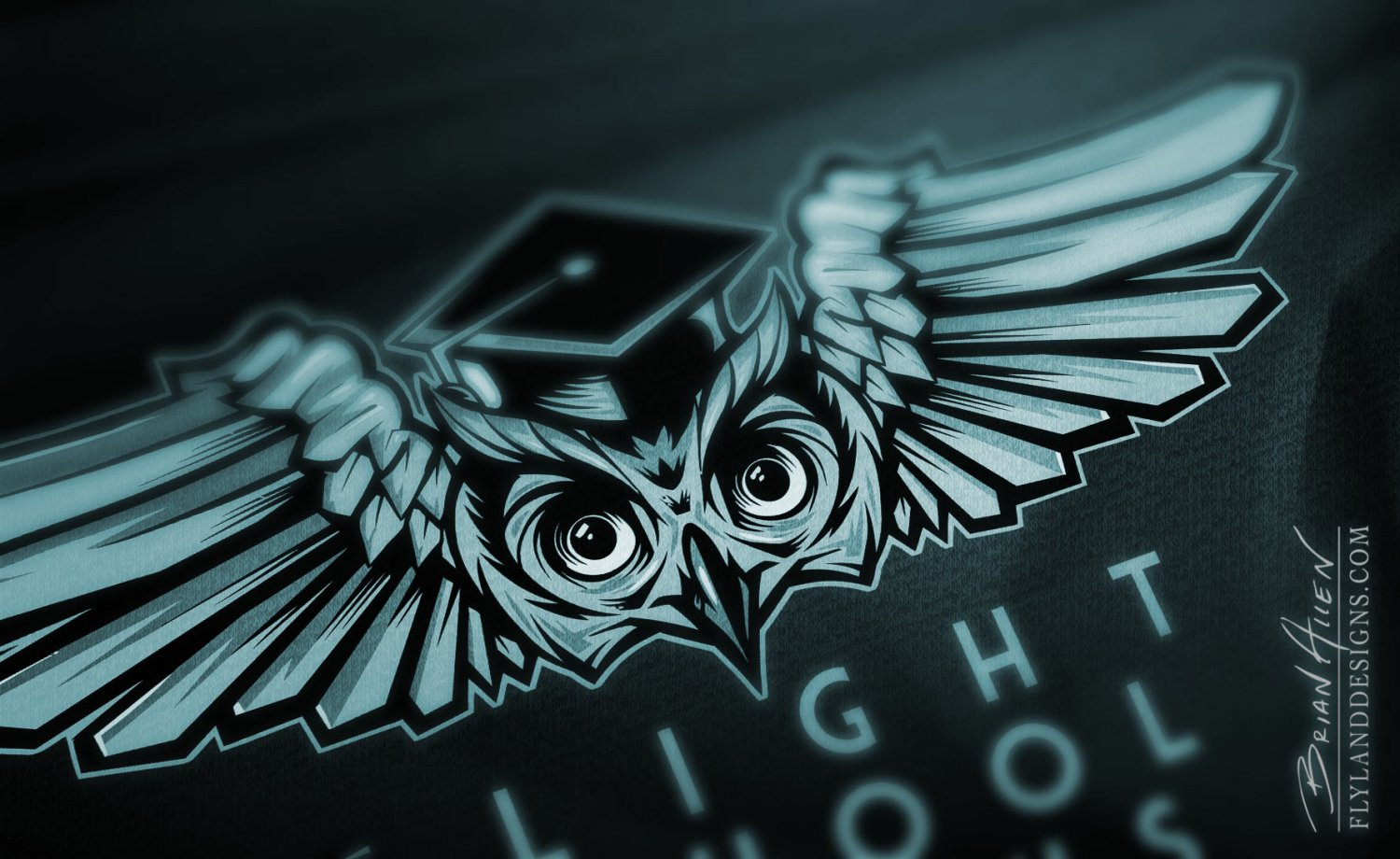 Owl emblem logo design detail view
