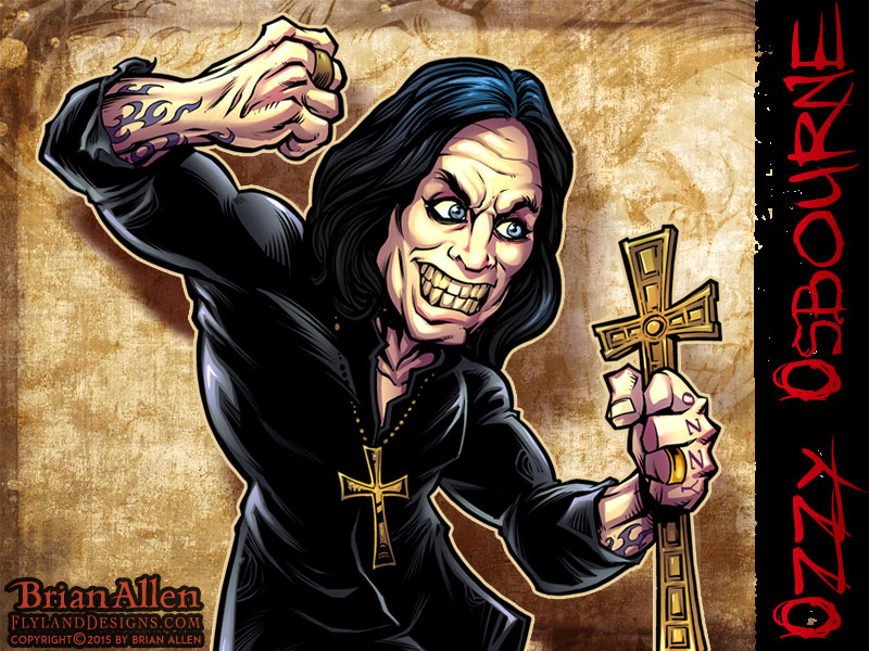 Caricature illustration of Heavy Metal Icon Ozzy Osbourne