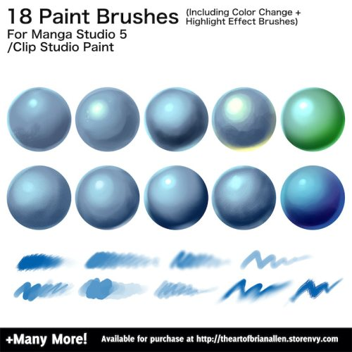 Brush Presets for custom paint Brushes for Manga Studio 5 (Clip Studio Paint)