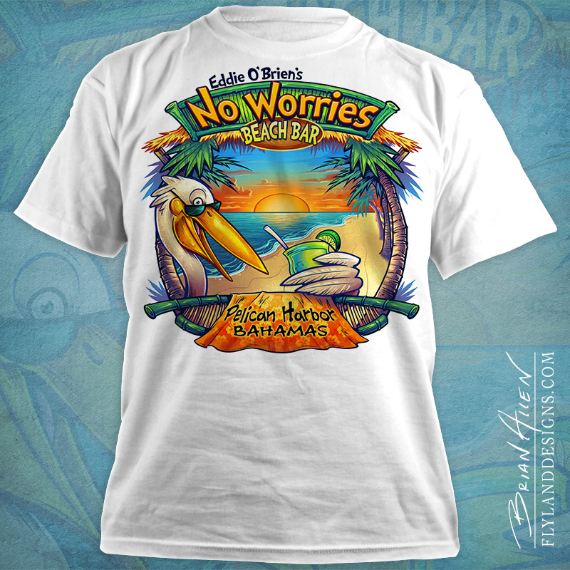 Custom T-Shirt Illustration of a cartoon pelican drinking on a tropical beach