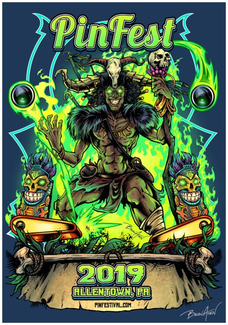 witchdoctor pinball artwork for Pinfest t-shirt poster