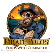 Cartoon pirate character in fron
