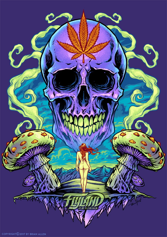 Giant purple skull with pot leaf