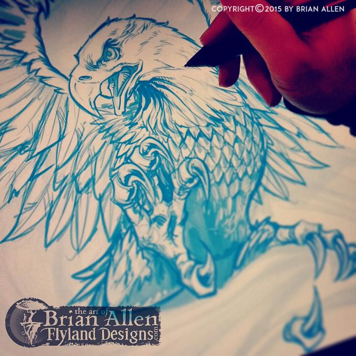 Patriotic illustration of an eagle and flag t-shirt design.