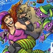 poster illustration of a roller derby girl stealing santa's bag from elves