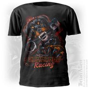 Angry rottweiler chewing on a piston for racing t-shirt