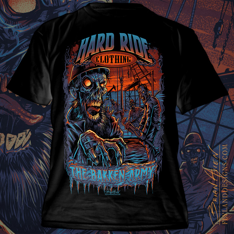 T-Shirt illustration of zombie roughnecks on a Bakken oil rig