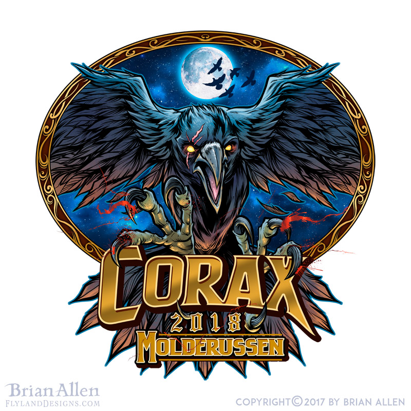 dark russ logo with a crow flyin