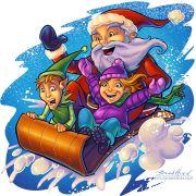 Cartoon illustration of Santa, an elf, and a little girl on a sled
