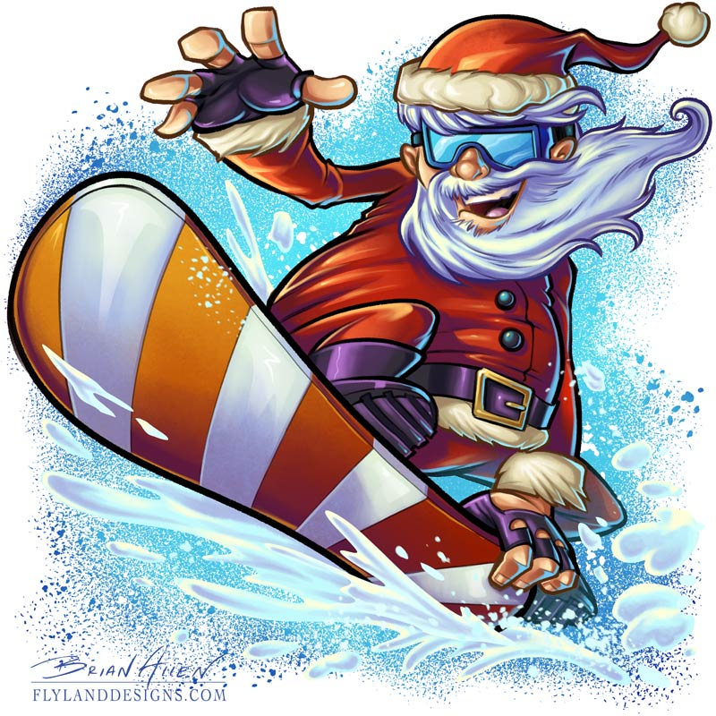 Cartoon Christmas mascot illustration of Santa Cluas snowboarding.