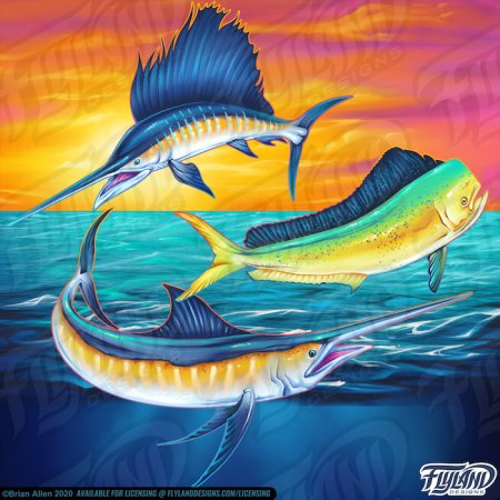 Three different sea fish with an ocean and sunset background