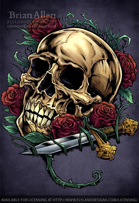 Illustration of a Skull, Rose, a