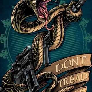 Rattle snake coiled around rifle