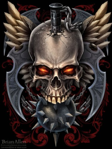 Skull and wings and mace dark digital painting