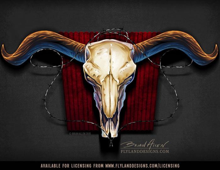 Scary steer skull with horns ava