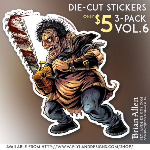 Die-cut sticker of horror movie monster Leatheface