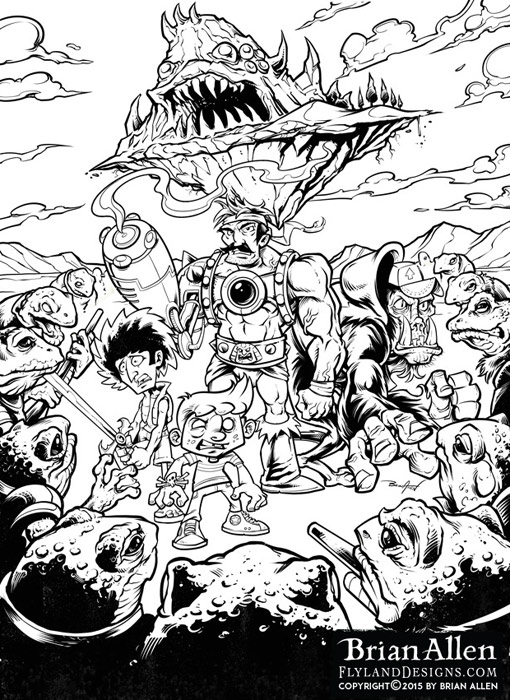 Sci-fi fantasy poster illustration with mutant frogs and strange heroes