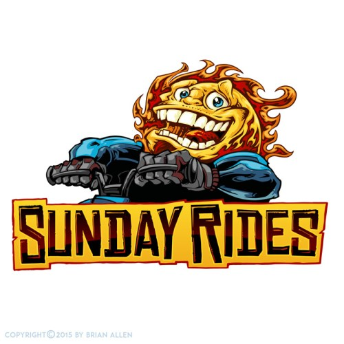 Sun riding a dirtbike mascot logo.
